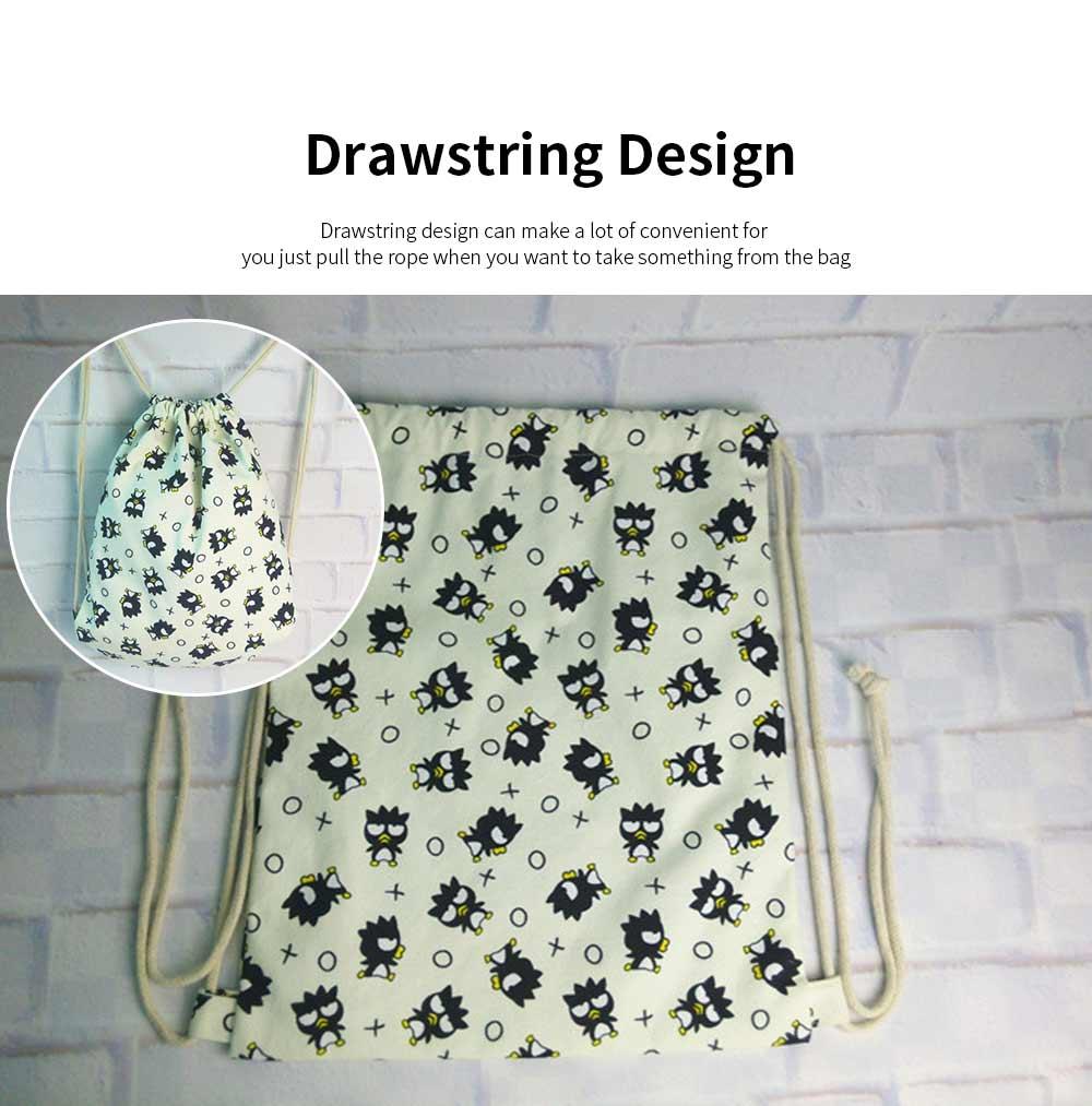Cartoon Canvas Drawstring Schoolbag, Cactus Pattern Canvas Bundle Pocket for Students 3
