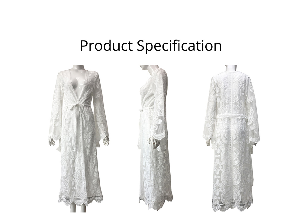 Creative Delicate Crochet Lace Polyester Long Cardigan, Fashion Sexy Bohemian Style Ladies Breach Evening Dress 6
