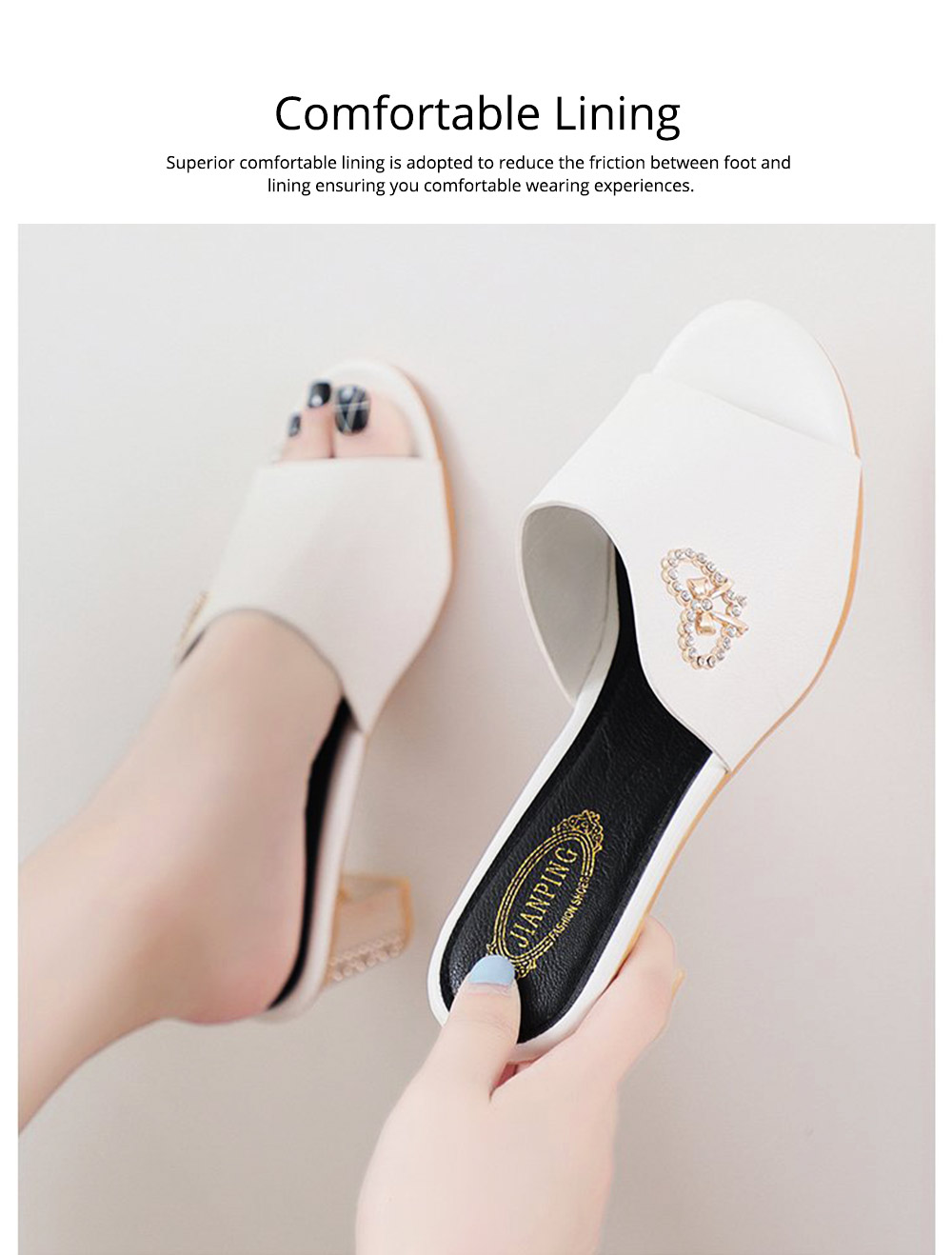 Minimalist Elegant Rhinestone Decoration High-heeled Sandals, Comfortable Skin-friendly PU Leather Chunky Heels Sandals Outdoors 2