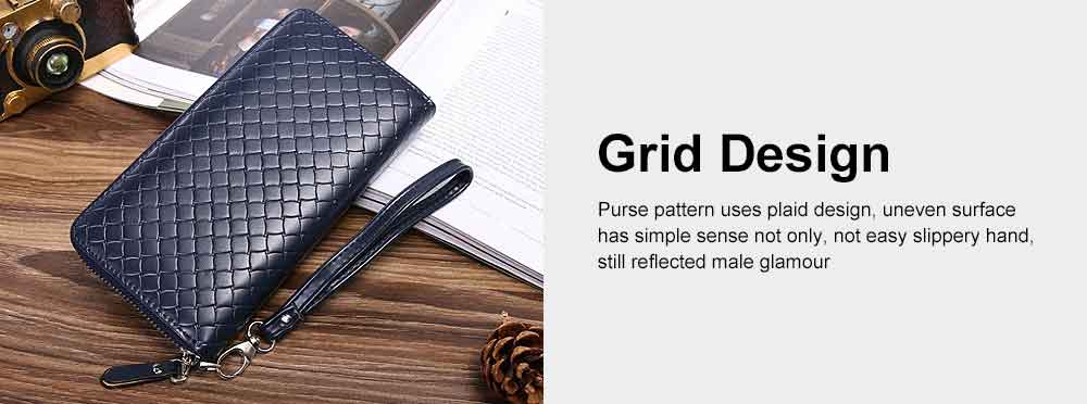 Male Long Plaid Leather Purse Money Clip with Hardware Zipper Design, Stylish & Durable Handbag for Men 3