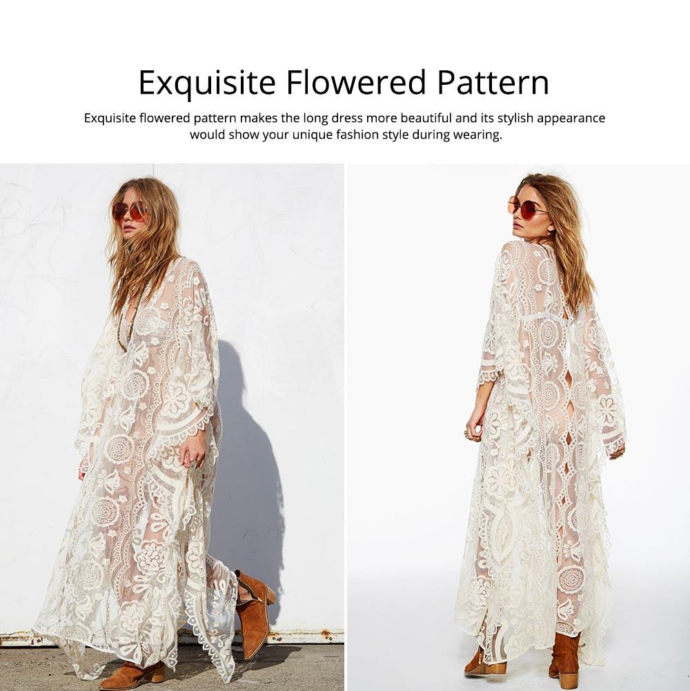 Delicate Fancy Crochet Hollow Lace Grenadine Long Dress, Sexy Fashion Flower Model Ladies Breach Evening Dress 5