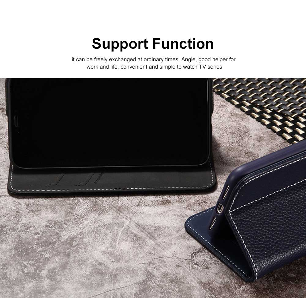 Wear-resistant Leather Crash-resistant Phone Shell with Soft Shell Edge Designed with Support Function & Card Slot for iphone 5 5s 5SE, 6 6S 7 8 Plus, X XS XR 1