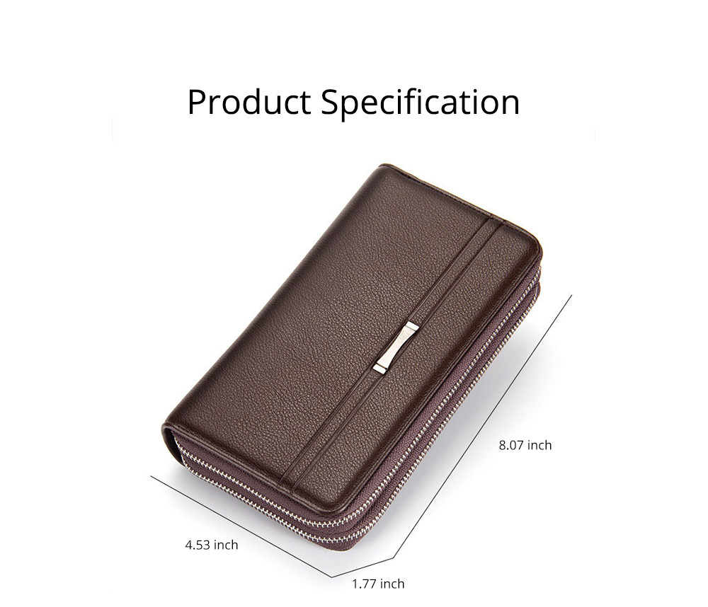 Large Capacity PU Leather Clutch Bag Wallet for Men, Double Zipper Multiple Card Positions Fashion Handbag Phone Bag 6