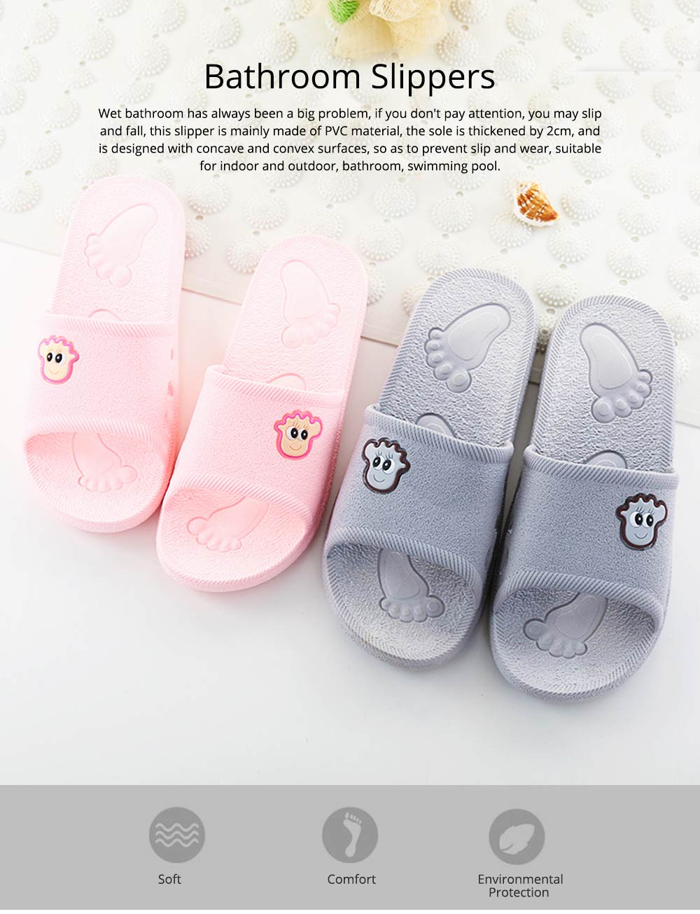 Non-slip Leaking Summer Cartoon Bath Shoes Bathroom Slippers Casual Household for Women and Men Couples 0