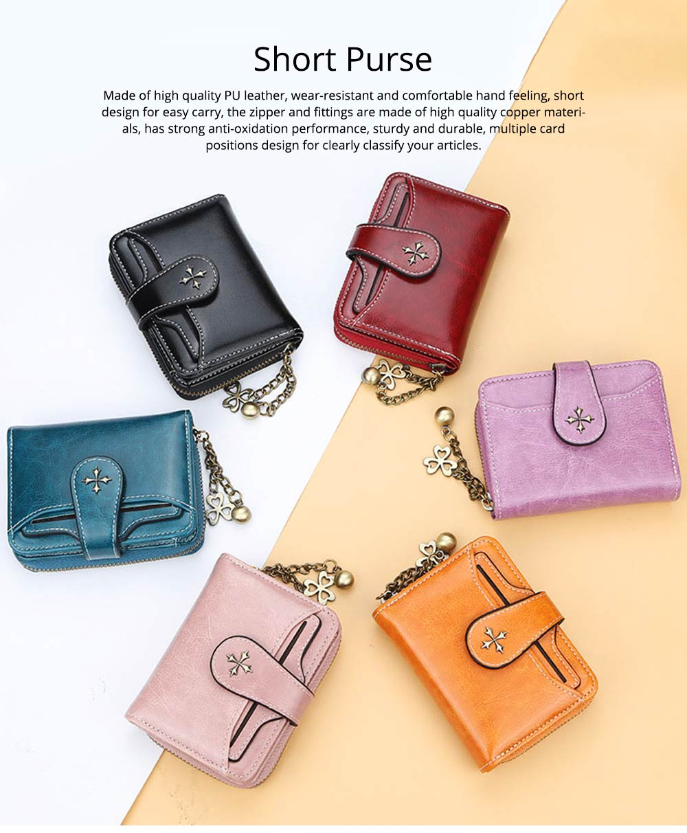 Baellery Short Purse for Women, PU Leather All-match Fashion Coin Purse Tassel Zipper Handbag Wallet 2019 New 0