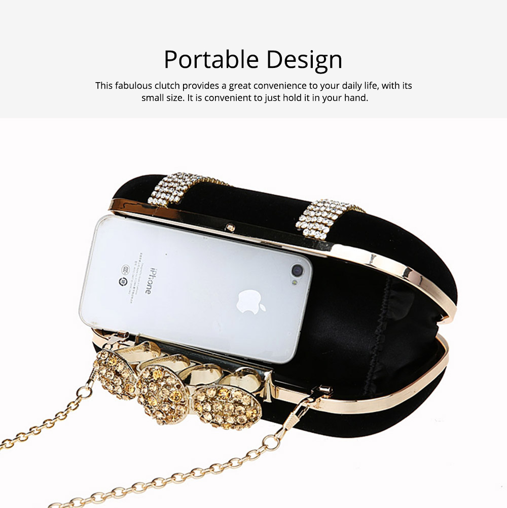 Korean Style Fashionable Velvet Evening Handbag, Superior Easy Matching Clutch Bag with Crystal for Dinner Party, Cocktail Prom 1