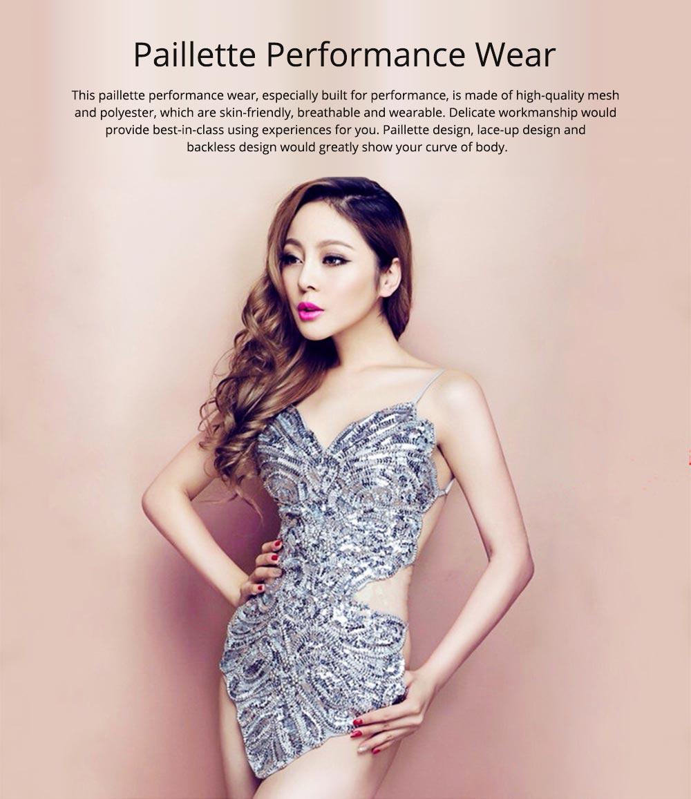 Sexy Stylish Shiny Paillette Butterfly Model Performance Wear, Soft Mesh Polyester Lace-up Backless Party Wear 0