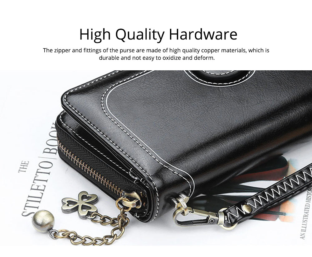 Baellerry PU Purse Fashion Classic Multifunctional Personality Wallet for Women Buckle Copper Zipper ID Card Phone Handbag With Chain 4