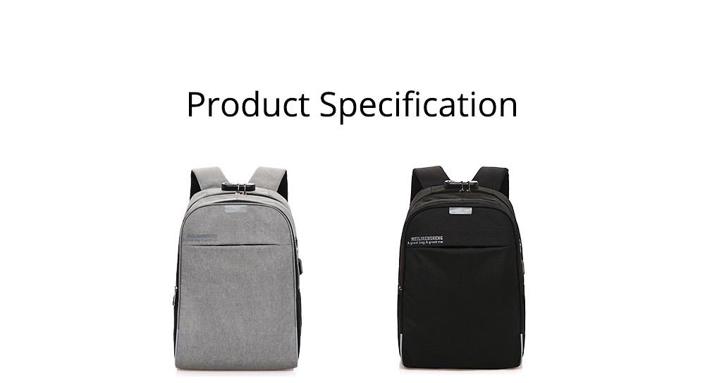 Multifunctional Minimalist Water-proof Student Backpack, Outdoors Travel Shoulder Bag with USB Charging Port Earphone Hole 14