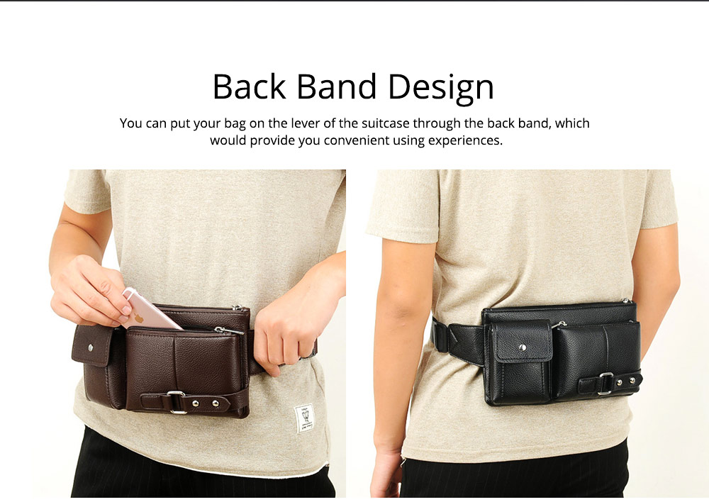Minimalist Soft PU Leather Functional Men Waist Bag, Business Outdoors Sport Waist Shoulder Bag Wallet 2