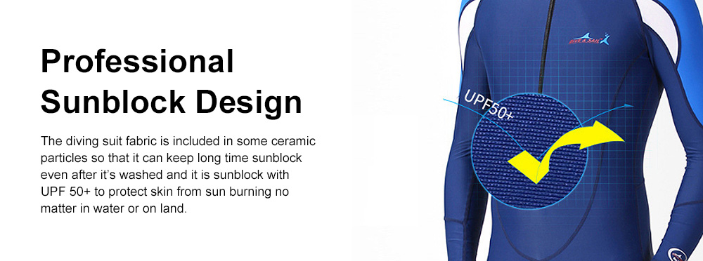 One-piece Unisex Diving Suit, Multifunctional One-piece Sunblock Diving Dress, Surfing Swimsuit Snorkeling Swimwear of Jellyfish Prevention Bathing Suit Blue 10