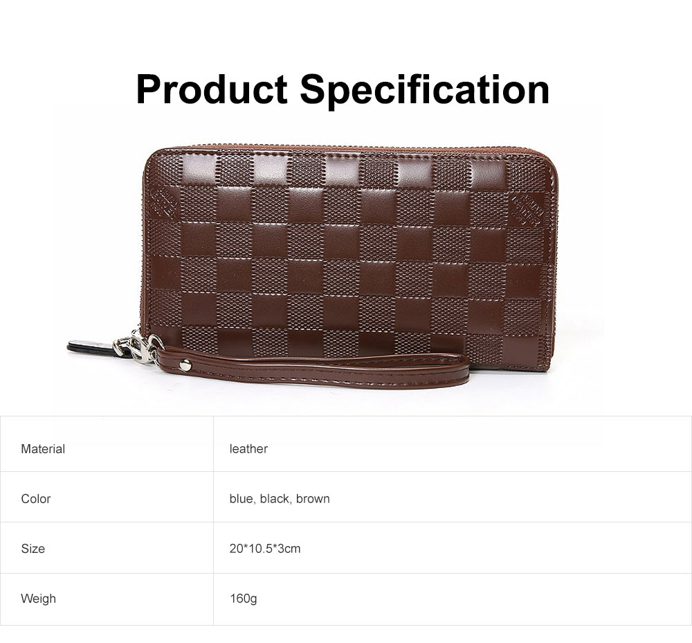 Long Plaid Leather Purse Wallet with Hardware Zipper Design, Stylish & Durable Handbag for Men 6