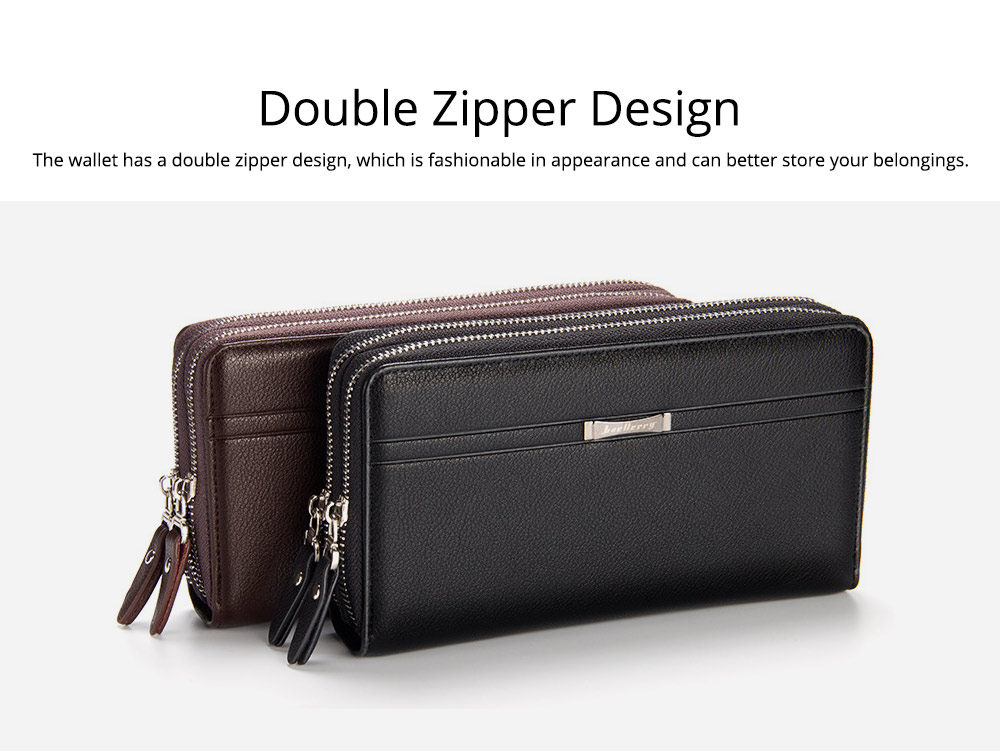 Large Capacity PU Leather Clutch Bag Wallet for Men, Double Zipper Multiple Card Positions Fashion Handbag Phone Bag 4