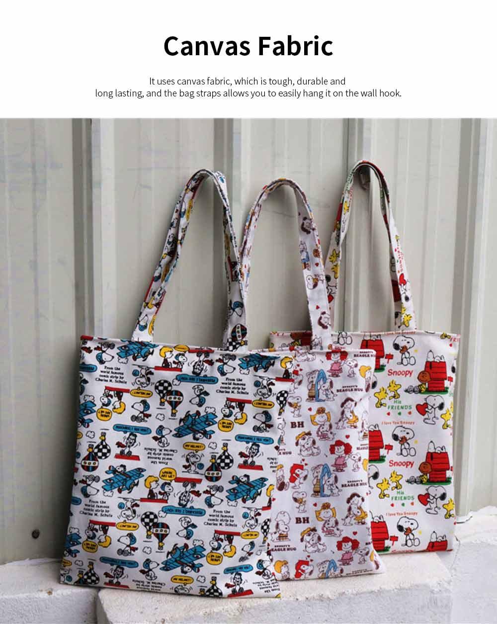 Canvas Cartoon Hand Bag Shoulder Bag, Environmental Protection Shopping Bag, Single-shoulder Bag with Lovely Cartoon Image 1