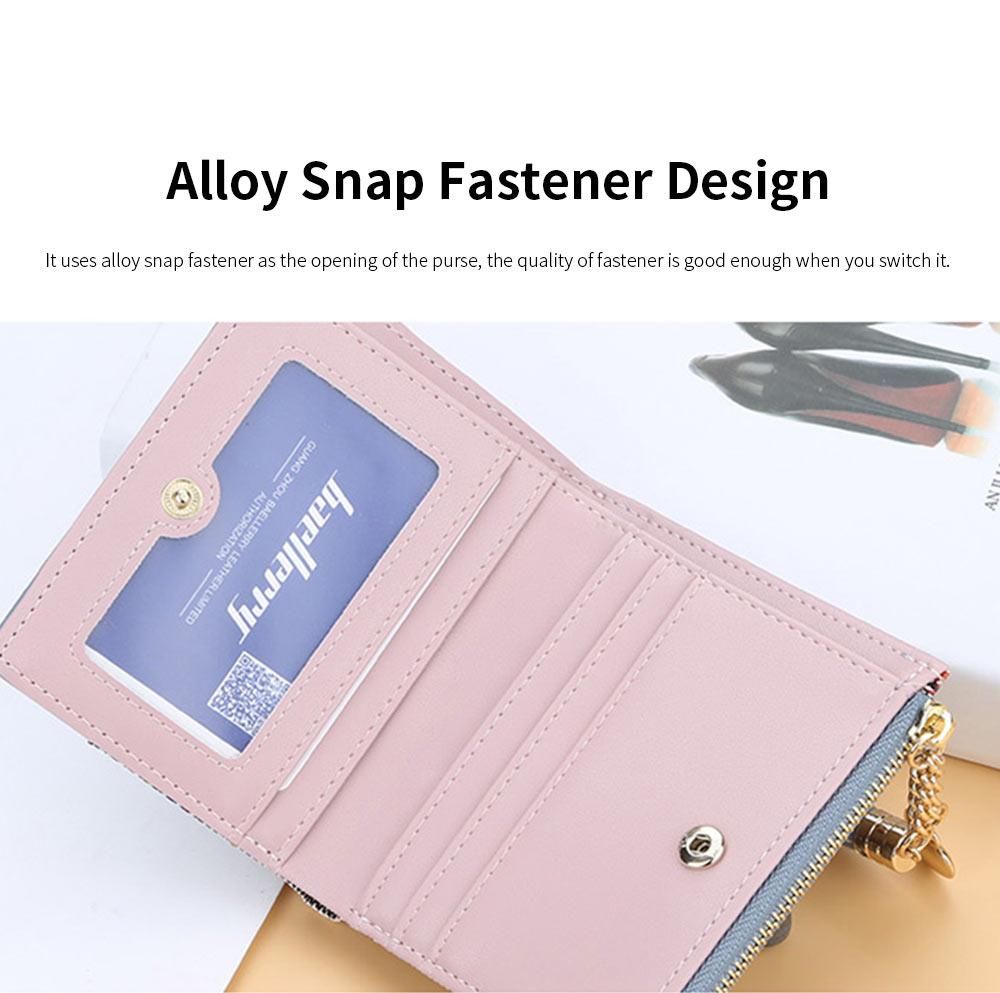 Trifold Leather Purse for Ladies, Clutch Wrist Bags, Handbag Organizer Card Cash Holder for Women 3