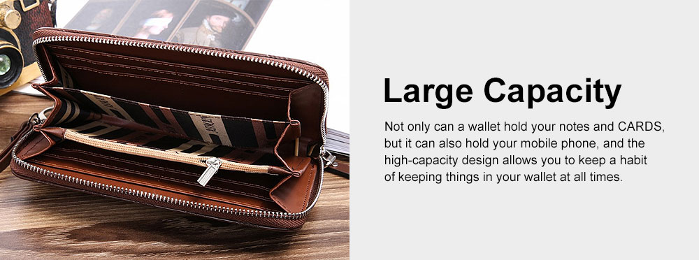 Long Plaid Leather Purse Wallet with Hardware Zipper Design, Stylish & Durable Handbag for Men 5
