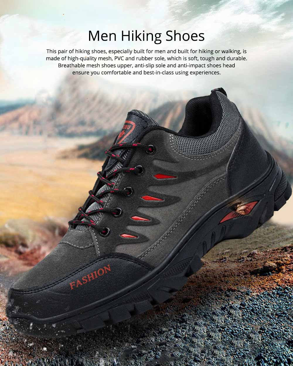Outdoors Casual Traveling Men Hiking Shoes, Wearable Anti-slip Walking Trekking Sneakers for Men 0