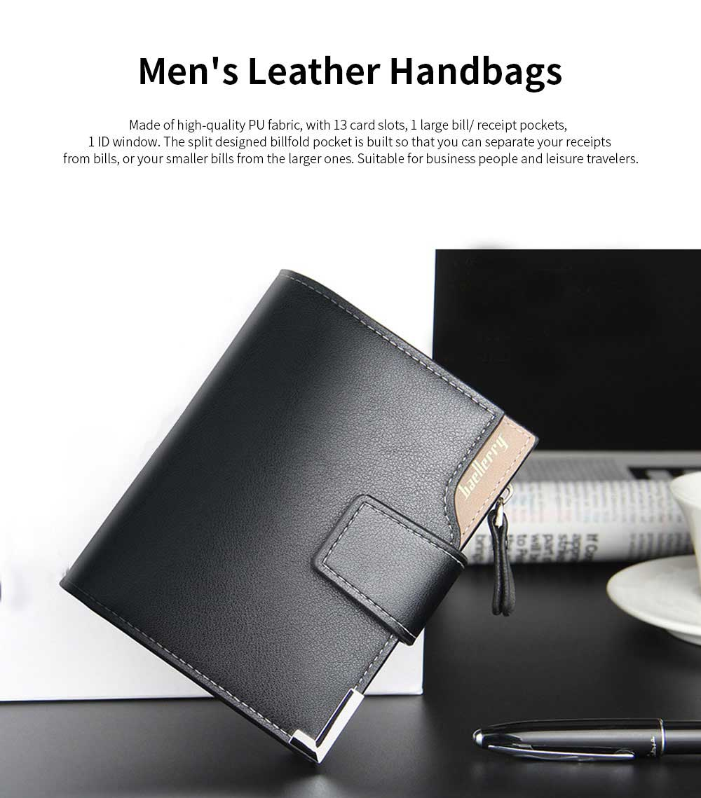 Men's Tri-fold PU Leather Handbag with Zipper, Multi-functional Organizer Card Cash Wallet for Men 0
