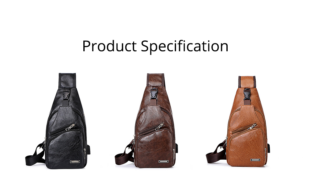 Minimalist Fashion Casual Outdoors Men Chest Bag, Ultra-soft Waterproof PU Leather Business Sport Shoulder Bag with Charging Port Earphone Hole 11
