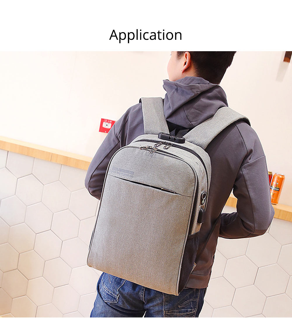 Multifunctional Minimalist Water-proof Student Backpack, Outdoors Travel Shoulder Bag with USB Charging Port Earphone Hole 12