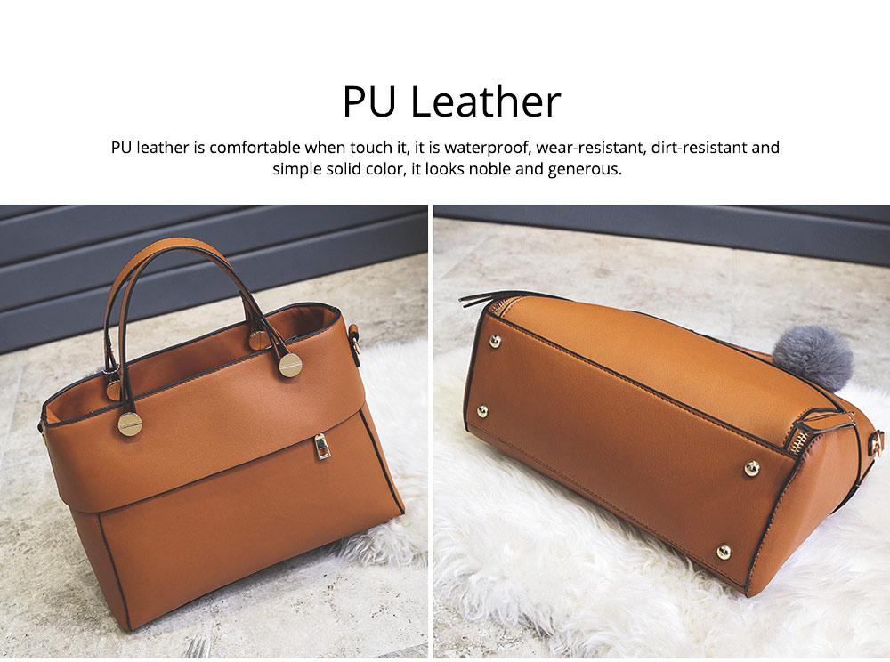 Lady Handbag PU Fashion Simple Hand Big Bag Shoulder Messenger For Women Middle-aged Mother 5