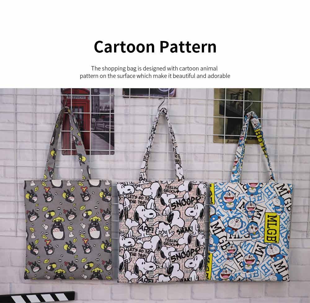 Canvas Cartoon Hand Bag Shoulder Bag, Environmental Protection Shopping Bag, Single-shoulder Bag with Lovely Cartoon Image 3