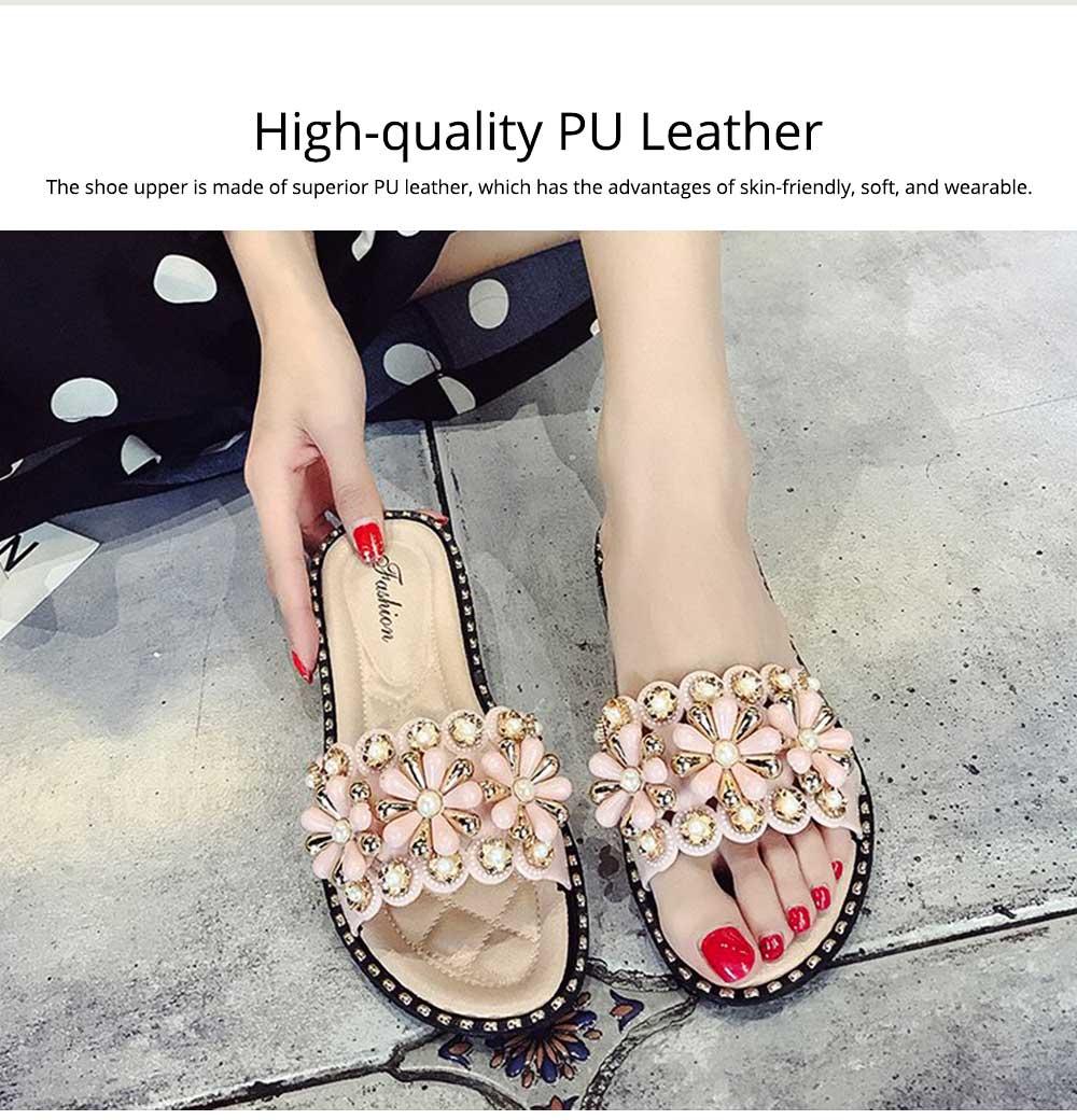 Elegant Fancy Flower Rhinestone Pearl Decoration Lady Sandals, Soft Comfortable PU Leather Fashion Sandals for Women 1
