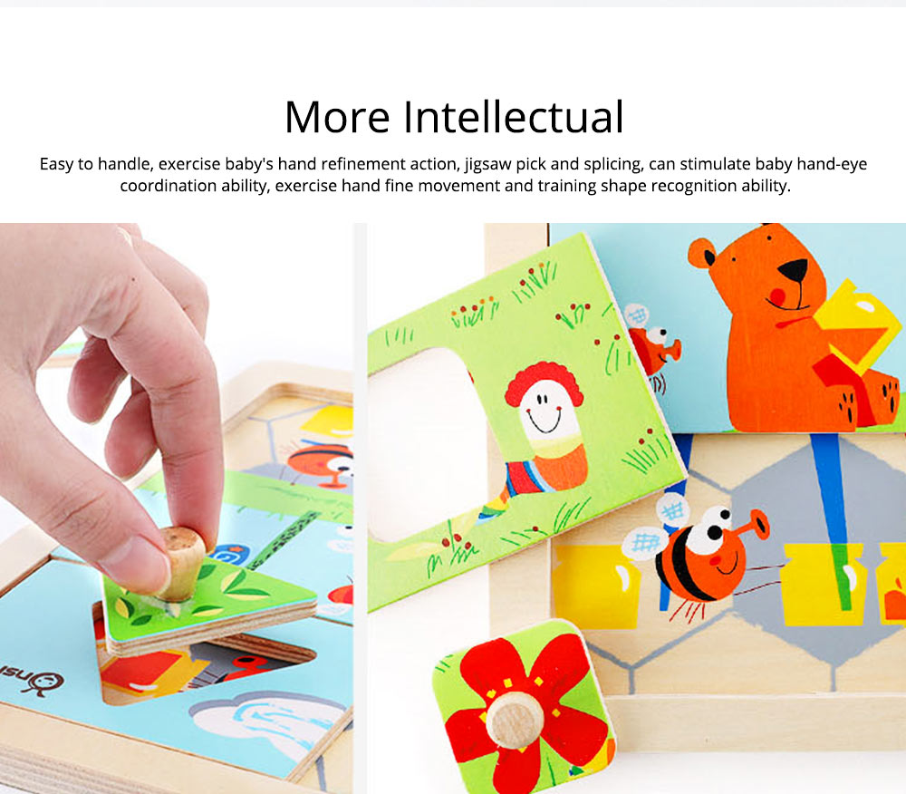 Children Puzzle Intelligence Cartoon Wood Learning Educational Jigsaw Puzzle Bee Honeymoon Baby Jigsaw puzzle For Kids Over 3 Years 3