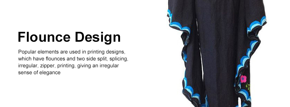 Printed Slit Dress with V-neck & Flared Sleeve Design Long Sleeve, Bohemian Dress for Women 2