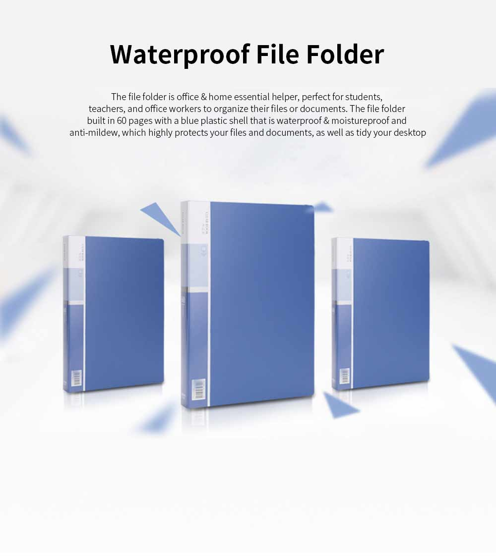 Waterproof File Folder for Students, Teachers Use, Paper File Organizer Office, Home, Essential, 60 Pages Documents Folder 0