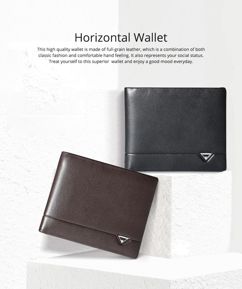 2019 Latest TUCANO Short Style Billfold for Young Men, Fashionable Genuine Leather Material Horizontal Wallet for Male 0