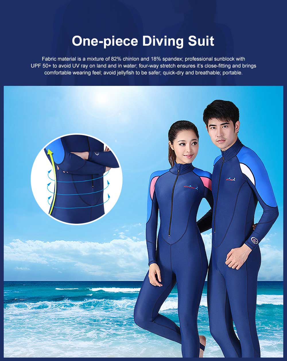 One-piece Unisex Diving Suit, Multifunctional One-piece Sunblock Diving Dress, Surfing Swimsuit Snorkeling Swimwear of Jellyfish Prevention Bathing Suit Blue 0