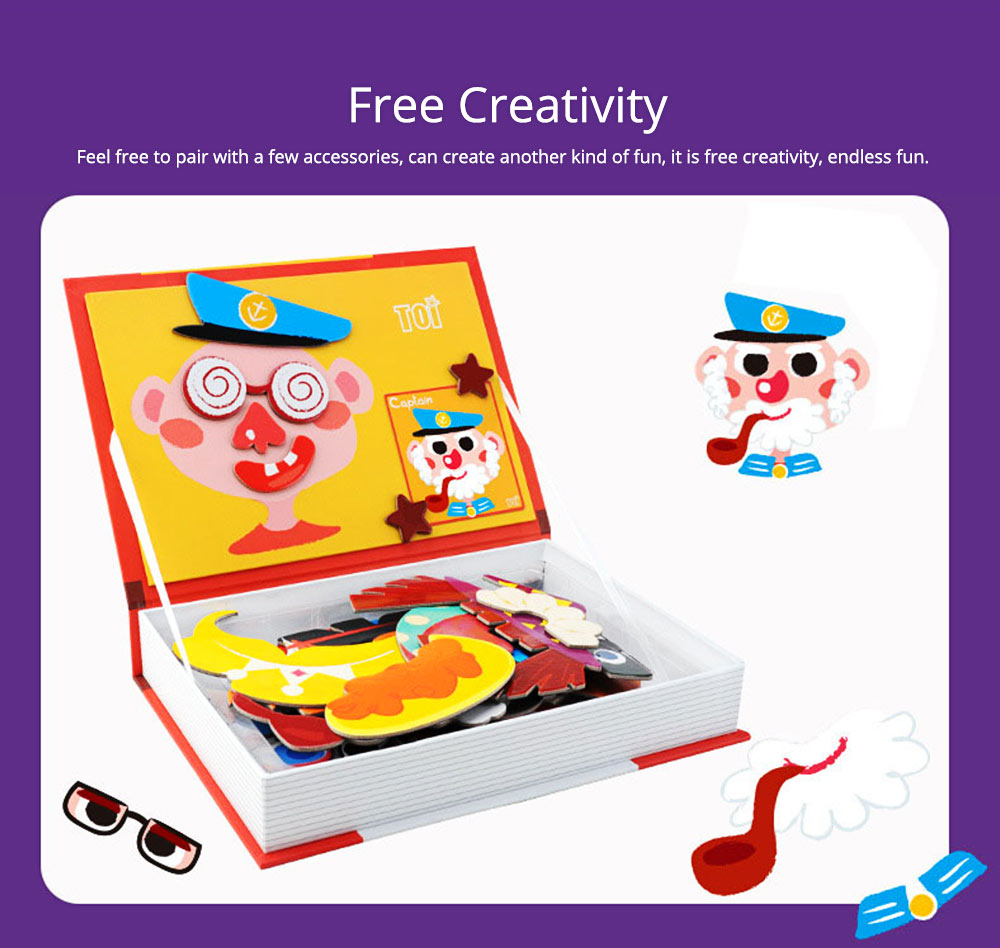Magnetic Crazy Face Change Expression Fantasy Puzzle Fridge Sticker Toys Children Book Early Educational For Kids 5