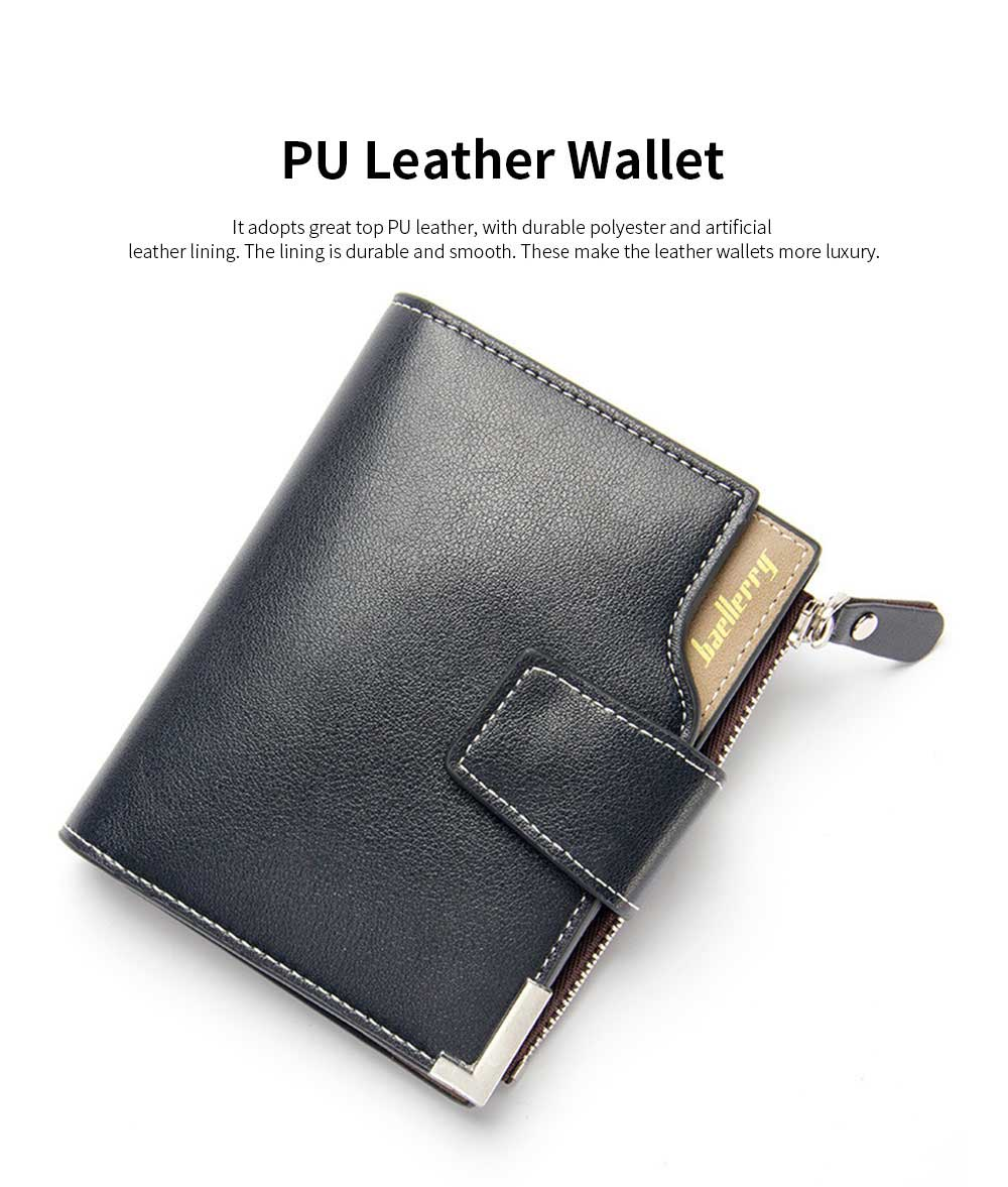 Men's Tri-fold PU Leather Handbag with Zipper, Multi-functional Organizer Card Cash Wallet for Men 1