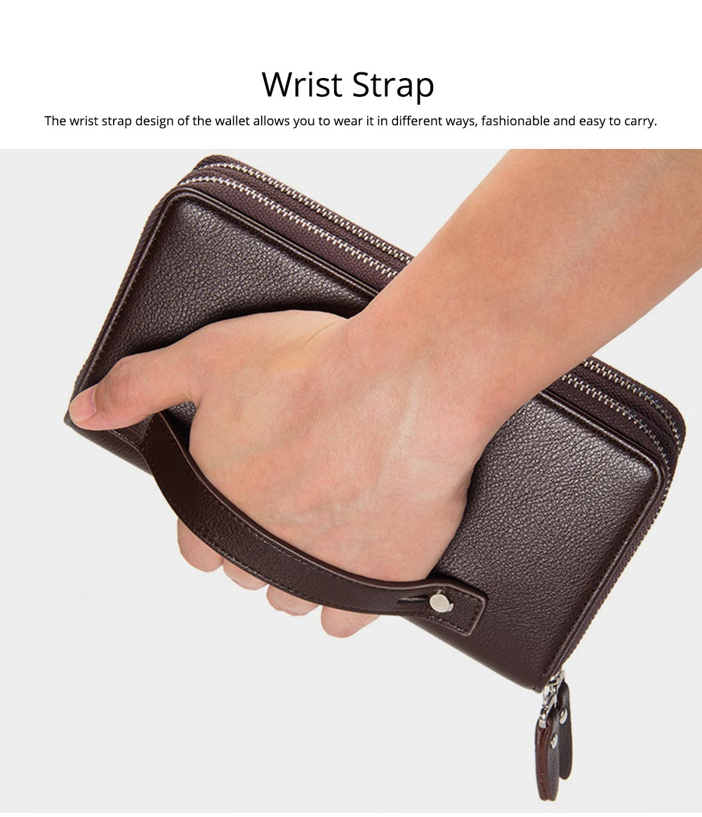 Large Capacity PU Leather Clutch Bag Wallet for Men, Double Zipper Multiple Card Positions Fashion Handbag Phone Bag 5