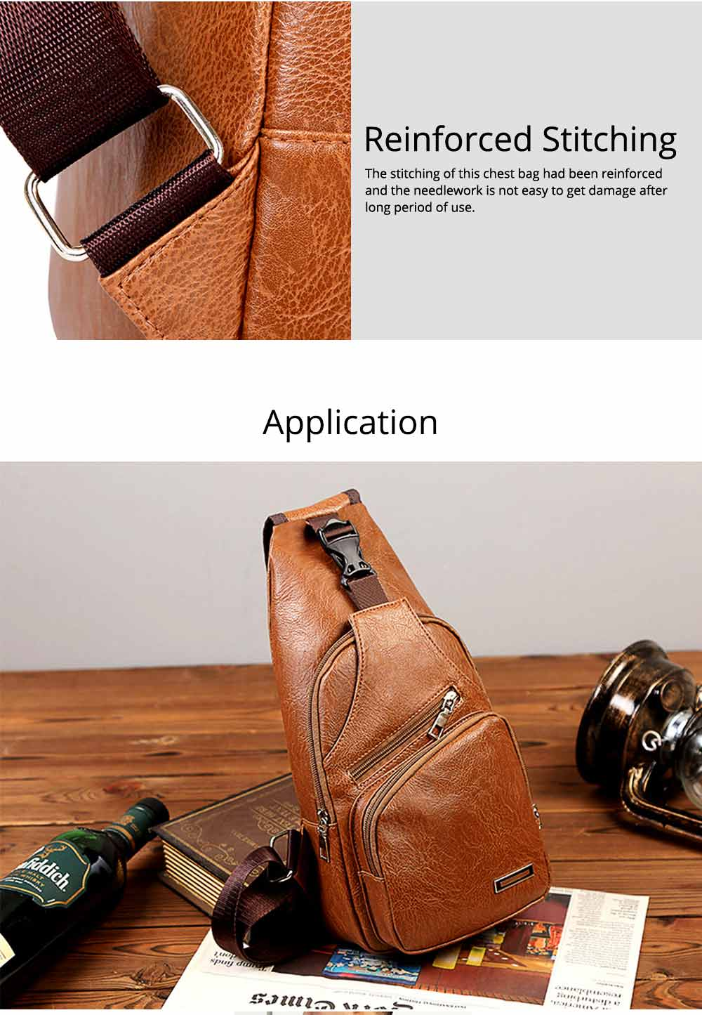 Minimalist Fashion Casual Outdoors Men Chest Bag, Ultra-soft Waterproof PU Leather Business Sport Shoulder Bag with Charging Port Earphone Hole 9