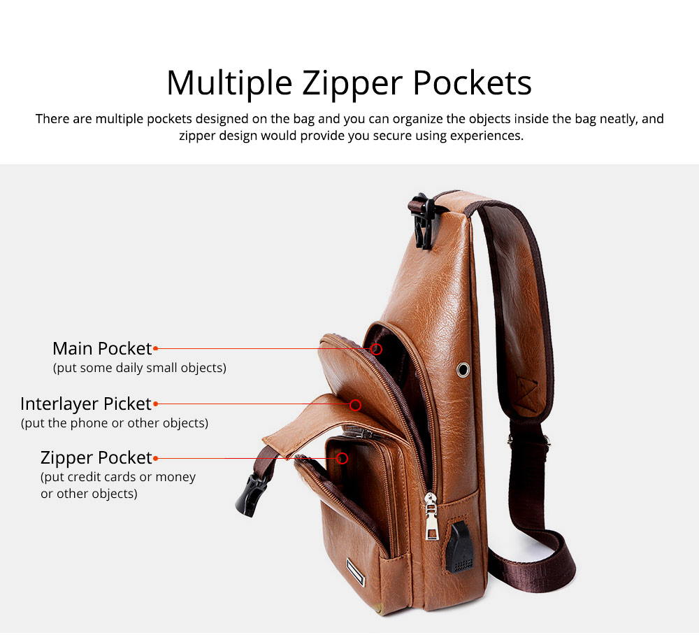 Minimalist Fashion Casual Outdoors Men Chest Bag, Ultra-soft Waterproof PU Leather Business Sport Shoulder Bag with Charging Port Earphone Hole 7