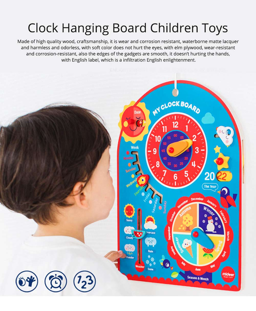 Calendar Wooden Clock Puzzle Hanging Board Multifunctional Daily Learning Digital Season Cognitive Children Toys for 3 to 6 years kids 0