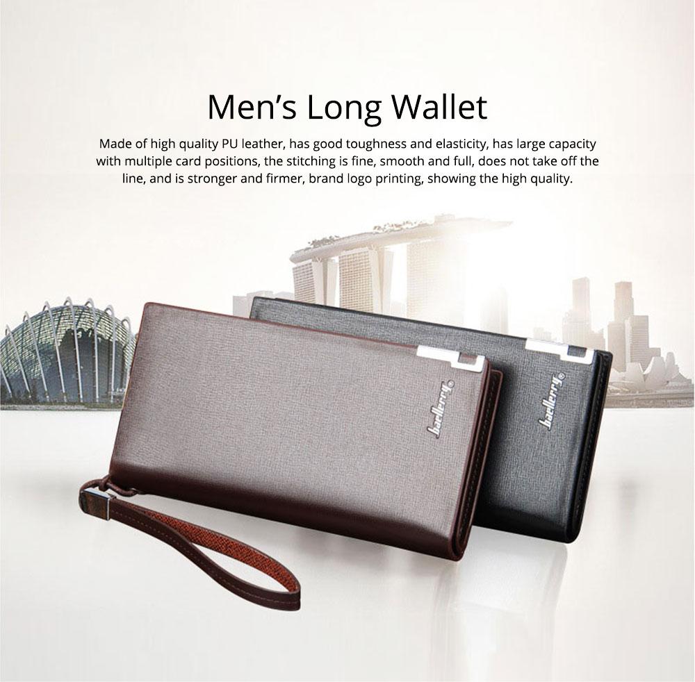 Baellerry Long Wallet for Men PU Leather Large Capacity Zipper Multiple Card Position Change Bag Handbag 0