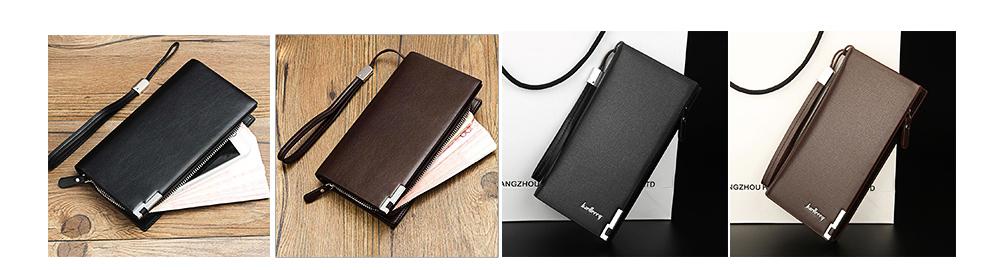 Baellerry Long Wallet for Men PU Leather Large Capacity Zipper Multiple Card Position Change Bag Handbag 8