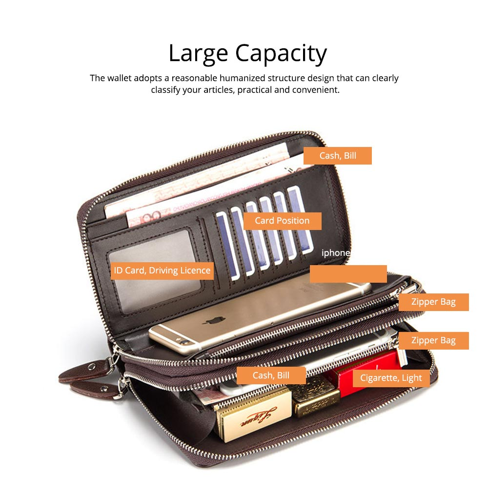Large Capacity PU Leather Clutch Bag Wallet for Men, Double Zipper Multiple Card Positions Fashion Handbag Phone Bag 3