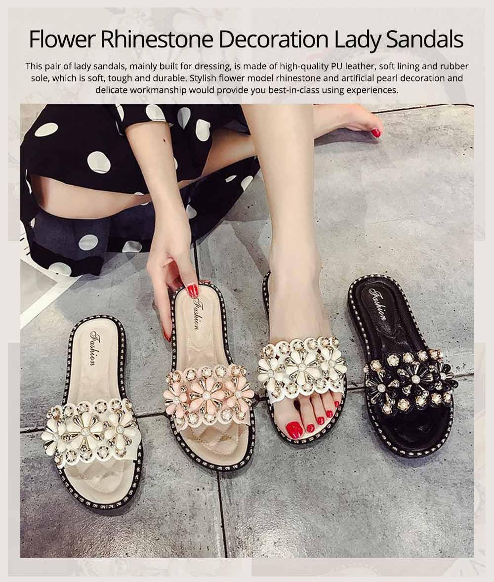 Elegant Fancy Flower Rhinestone Pearl Decoration Lady Sandals, Soft Comfortable PU Leather Fashion Sandals for Women 0