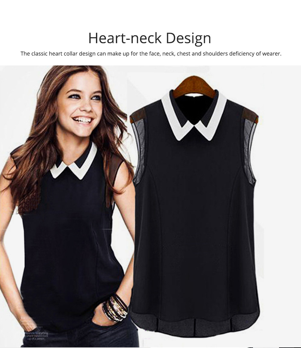 Lady's Skin-friendly Sleeveless Chiffon Shirt, Women Heart Neck Leisure Chiffon Blouse for Summer Cool Georgette Blouse 1