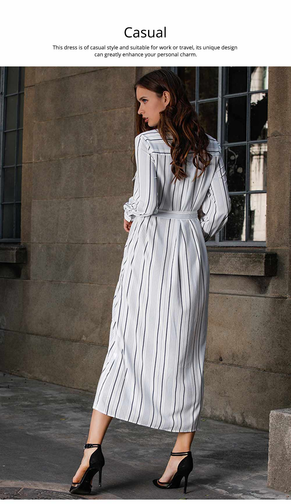 Spring Autumn Dress for Women, Long Sleeve Pocket Lace-up Long Dress, Fashion Stripe Casual A-line Lattice Skirt 2019 5