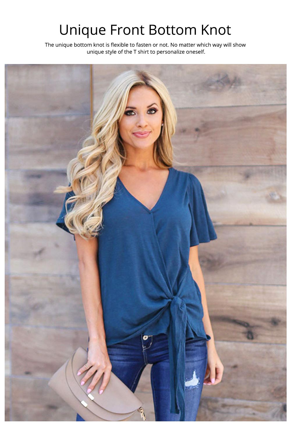 V-neck Lower T-shirt for Women in Summer 2019, Short Sleeve Hem Tying Knot Tees, Women Loose Top Dress 5