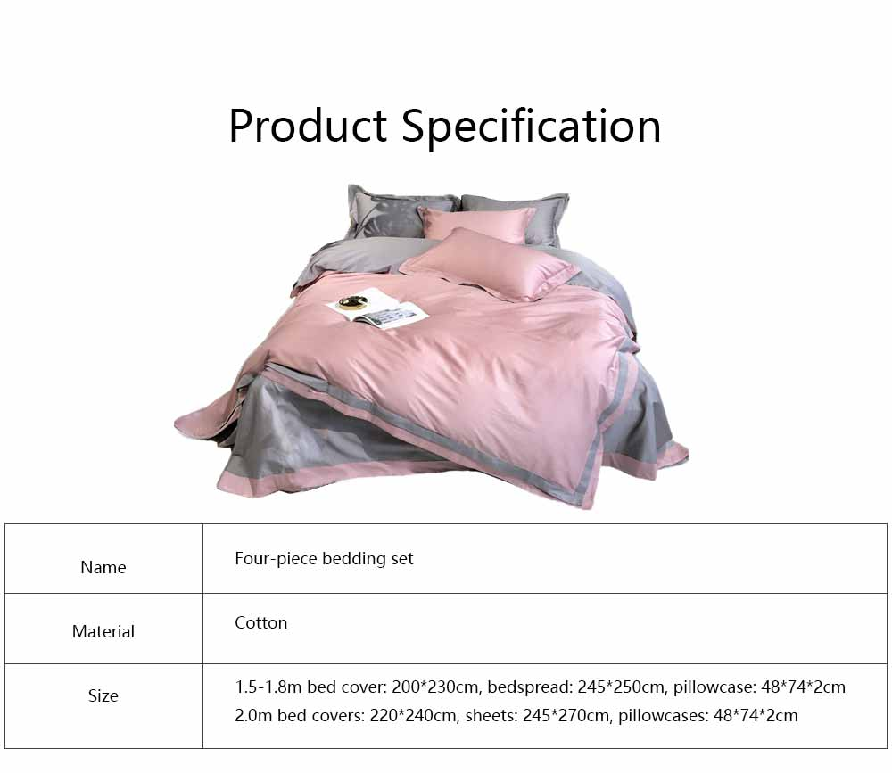 Four-piece Bedding Set Cotton Material, Flat-sheet Pillow Soft Bed Sheet Fitted-sheet Breathable Bedding Bag Comfortable Quilt 6