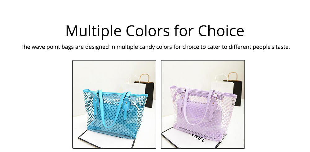Fresh Color Tote Bag for Women Summer Use Jelly Handbag Wave Point Waterproof PVC Beach Used Crystal Single Shoulder Held Bag 6