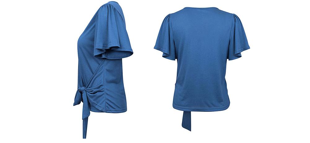 V-neck Lower T-shirt for Women in Summer 2019, Short Sleeve Hem Tying Knot Tees, Women Loose Top Dress 7