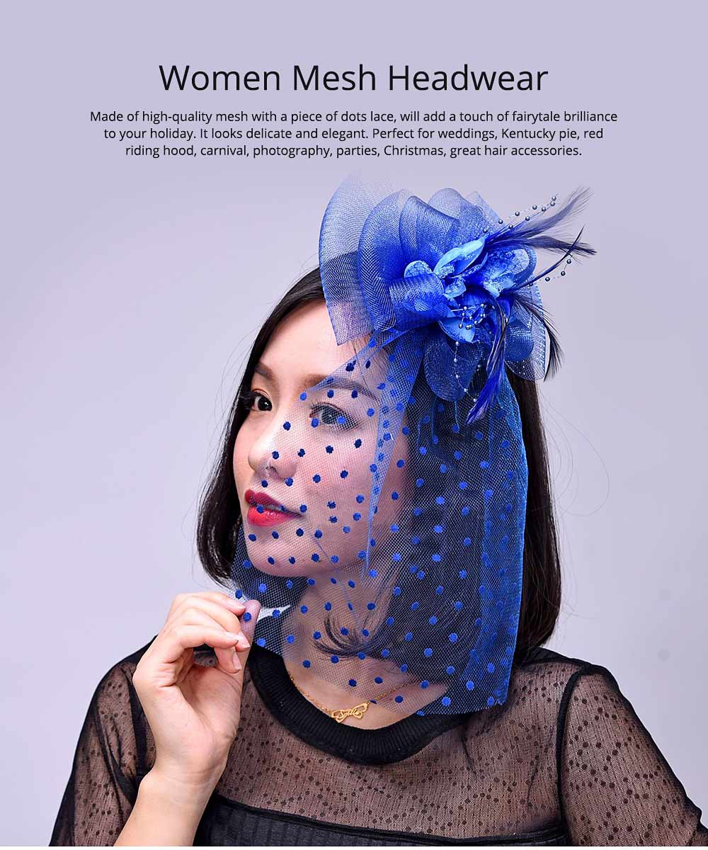 Mesh Headwear for Shows Dinner Banquet, Brides Hat Feather Mesh Yarn Hair Accessories with Flaky Polka Dots Lace 0