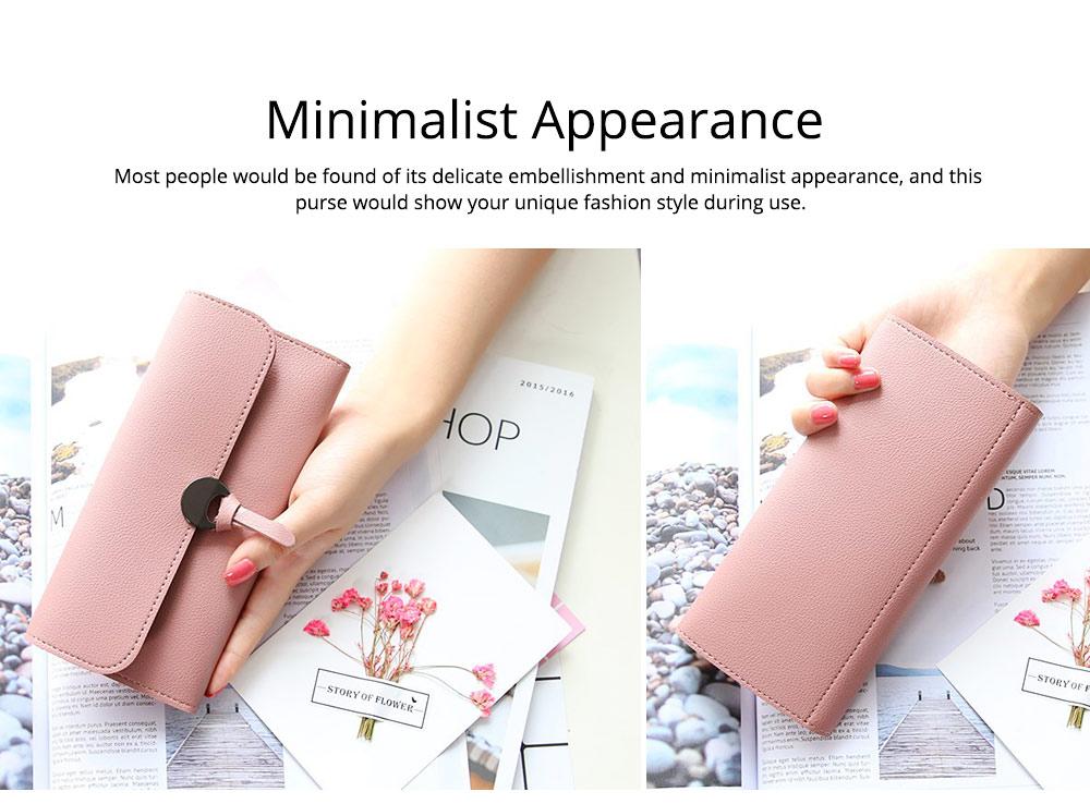 Simple Minimalist Long PU Leather Three-fold Purse, Soft Skin-friendly Large Capacity Women Purse Hand Bag 5